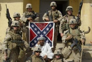 Why in gawd's name would our military even display a flag of WAR losers AND treasonists while on battle lines?? confederates (which I will always lowercase) are NOT heroes in any way, shape or form, but the worst of any society